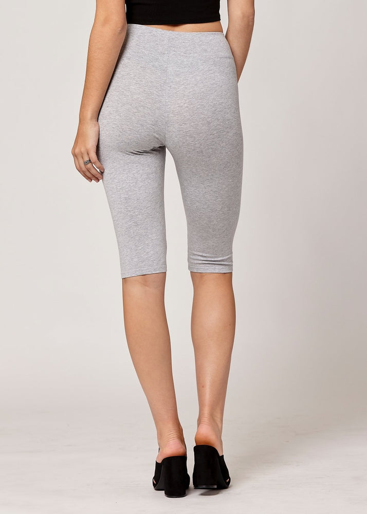 Lola Luxury Stretch Cotton High Waist Knee Bike Shorts -  Heather Grey