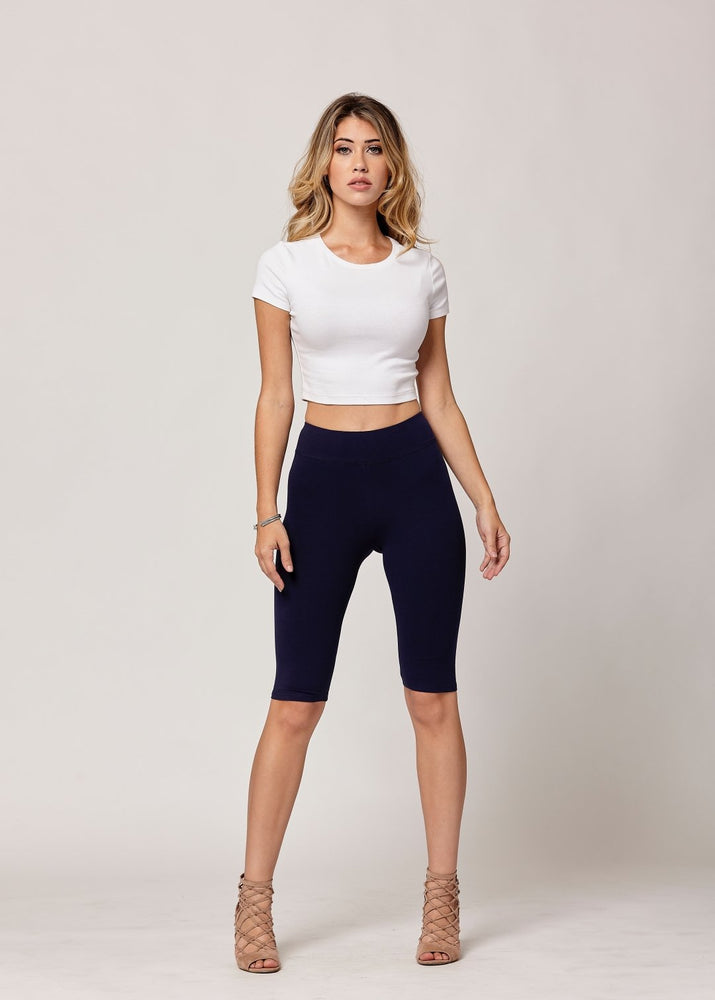 Lola Luxury Stretch Cotton High Waist Knee Bike Shorts -  Navy