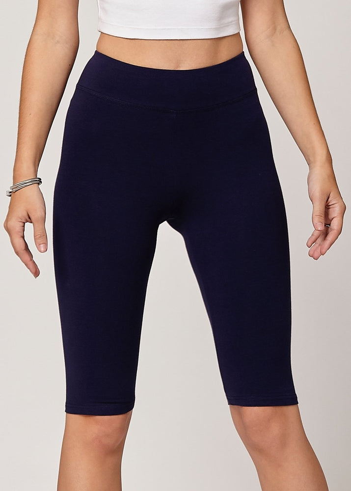 Load image into Gallery viewer, Lola Luxury Stretch Cotton High Waist Knee Bike Shorts -  Navy