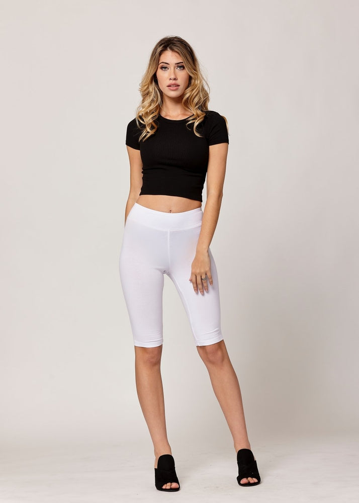 Lola Luxury Stretch Cotton High Waist Knee Bike Shorts -  White