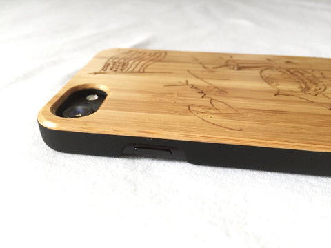 "Natural Bamboo iPhone Case - ""Break Time"""