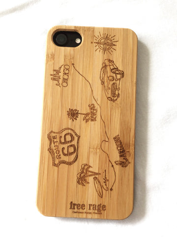 "Natural Bamboo iPhone Case - ""Route 66"""