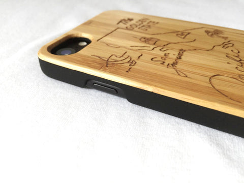 "Natural Bamboo iPhone Case - ""California"""