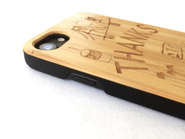 "Natural Bamboo iPhone Case - ""Thanks"""