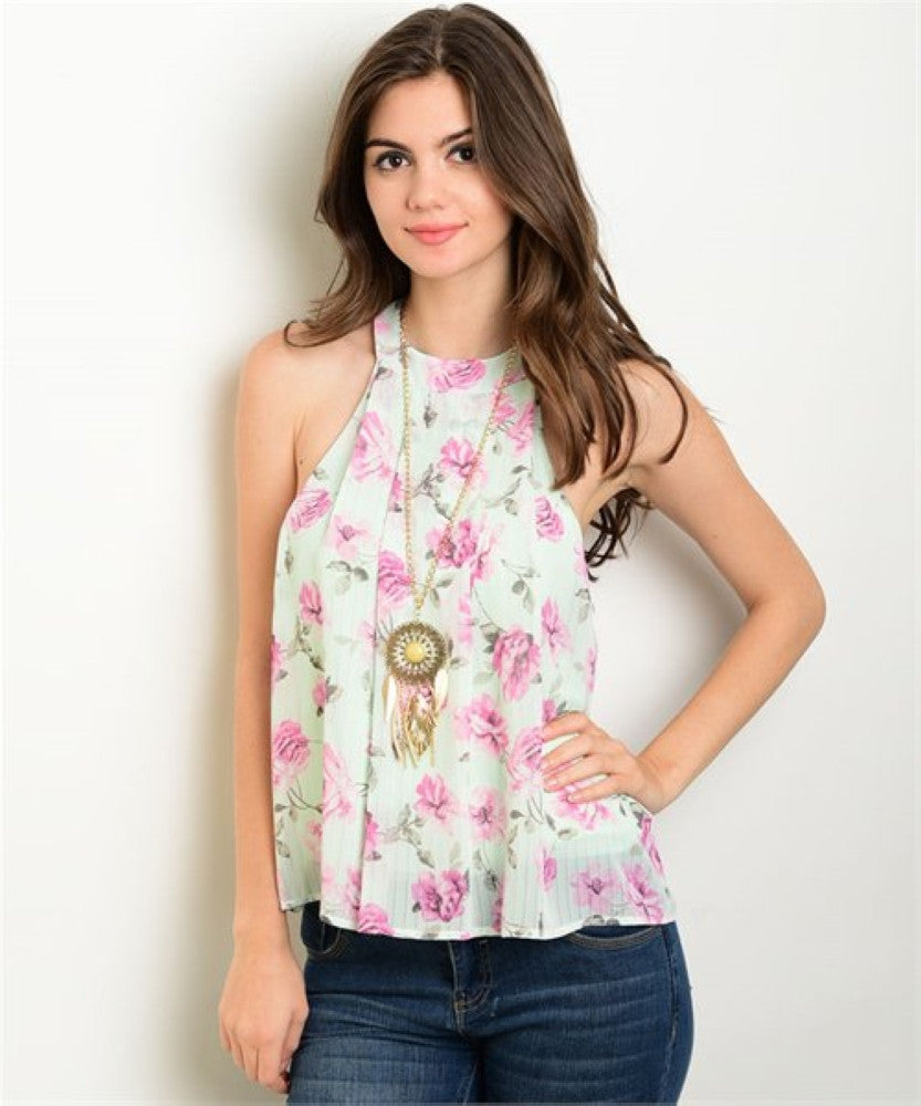 Women's Top Sleeveless Mint Purple Floral Tank Top FashionIsUs.com