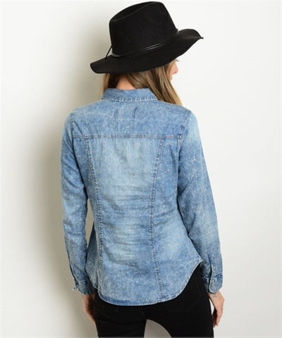 Women's Shirt Denim Button Down Long Sleeve FashionIsUs.com