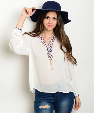 Women's Top Long Sleeve Off White Embroidered Blouse FashionIsUs.com