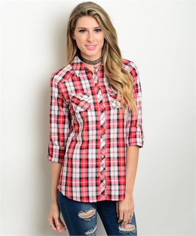 Women's Shirts Plaid Button Down Red And White FashionIsUs.com
