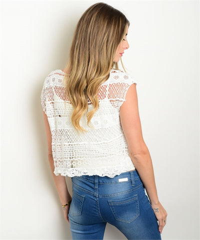 Women's Blouse White Crochet Lace Short Sleeve FashionIsUs.com