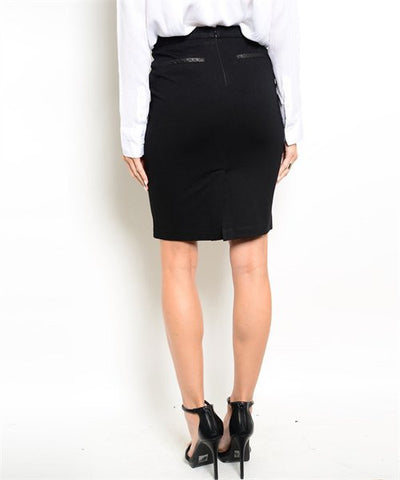 Women's Skirt Black Pencil With Leather Detail On Pockets FashionIsUs.com