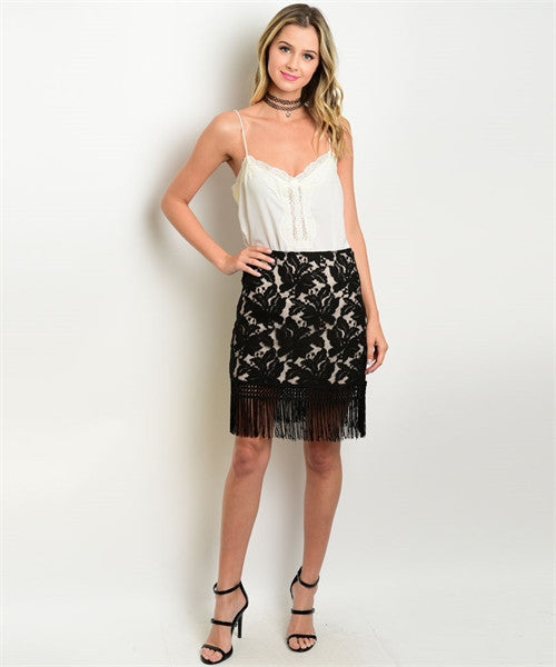Women's Skirt Tan Lace Fringed Skirt FashionIsUs.com