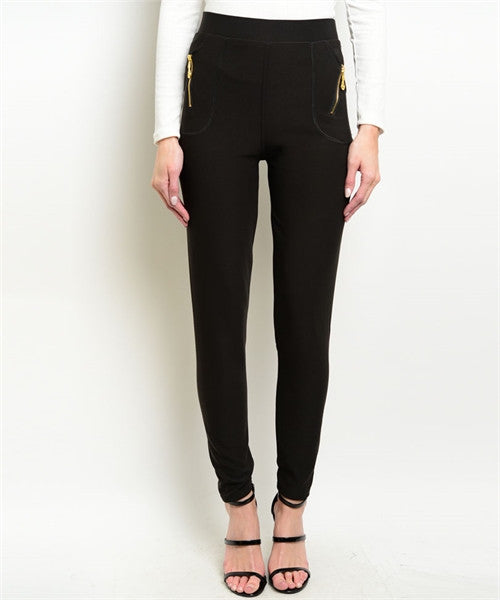 Skinny Black Pants With Gold Zippers FashionIsUs.com