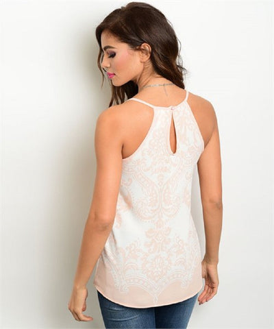 Women's Top Sleeveless Light Pink Printed Blouse FashionIsUs.com