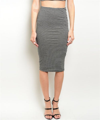 Women's Skirt Striped Black And Grey FashionIsUs.com