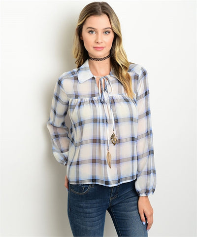 Women's Plaid Blue Printed Blouse FashionIsUs.com