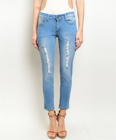 Women's Denim Jeans  Light Wash Distressed Pants FashionIsUs.com