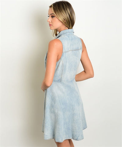 Women's Dress Blue Denim Buttom Down Dress FashionIsUs.com