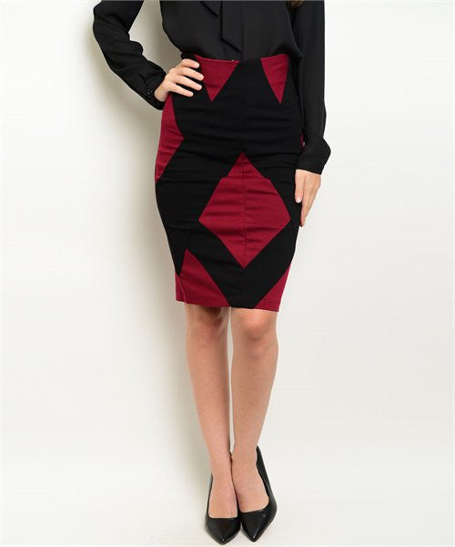 Women's Skirt Colorblock Black And Red Pencil Skirt FashionIsUs.com