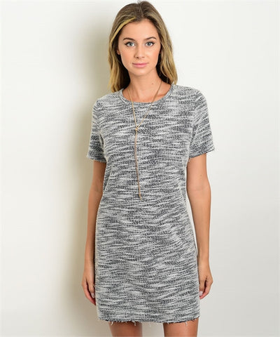 Women's Grey And White Shift Dress FashionIsUs.com