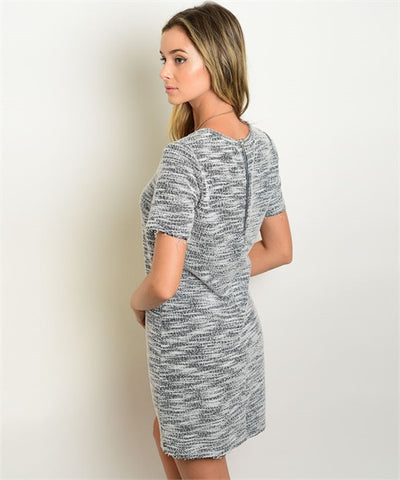 Women's Dress Grey And White Shift Dress FashionIsUs.com