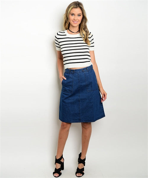 Dark Denim Jean Skirt FashionIsUs.com