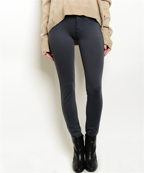 Women's Pants Dark Grey Skinny FashionIsUs.com