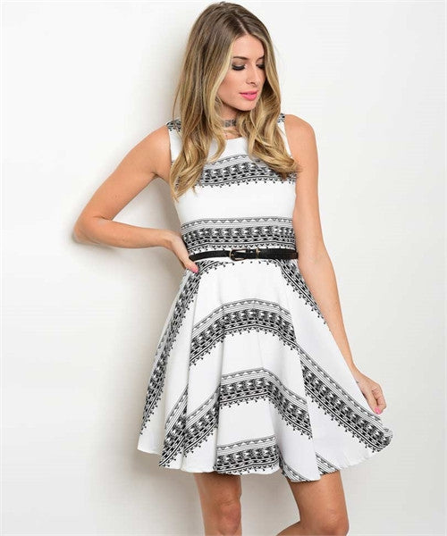 Women's Dress White And Black With Belt Dress FashionIsUs.com