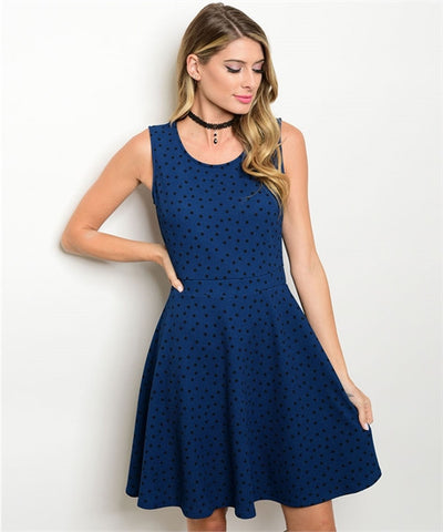Women's Blue And Black Polka Dotted Party Dress FashionIsUs.com