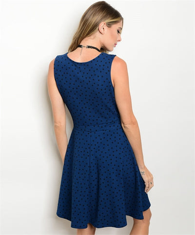 Women's Dress Blue And Black Dotted FashionIsUs.com