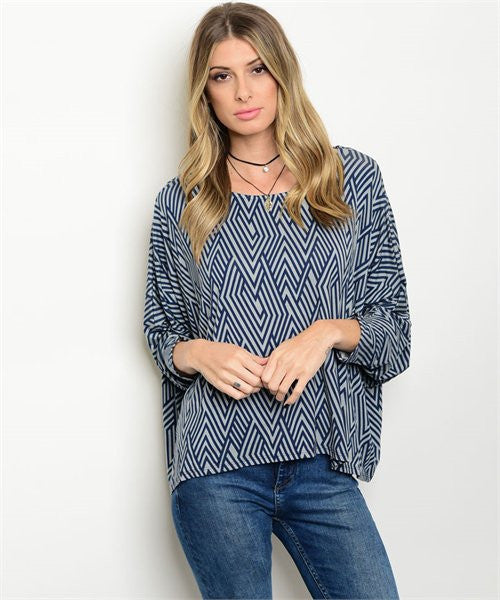Women's Navy Blue Tunic Blouse  FashionIsUs.com