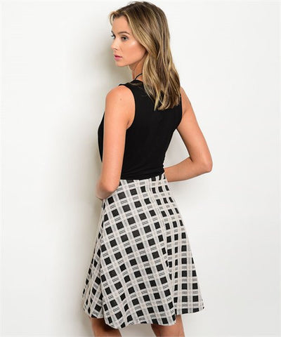 Women's Skirt Dress Black And White -FashionIsUs.com