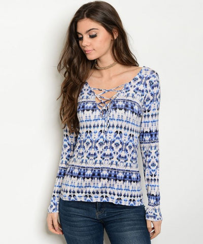 Women's Blue Lace Up Blouse  FashionIsUs.com