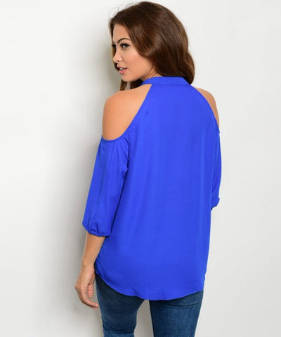 Women's Off Shoulder Blue Blouse FashionIsUs.com