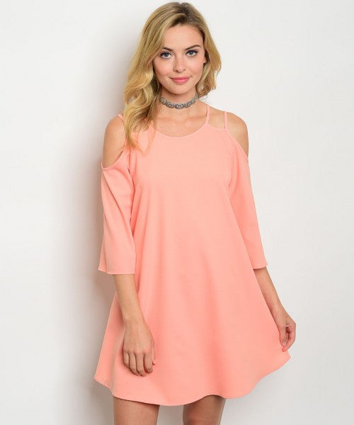 Women's Peach Cold Shoulder Tunic Dress FashionIsUs.com