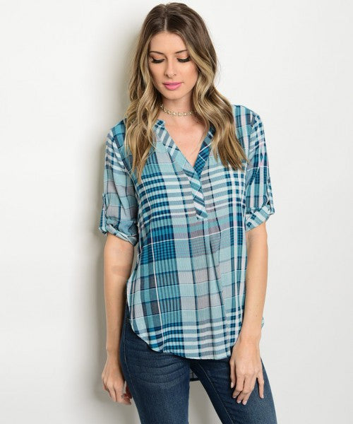 Women's Plaid Navy Tunic V-Neck Blouse FashionIsUs.com