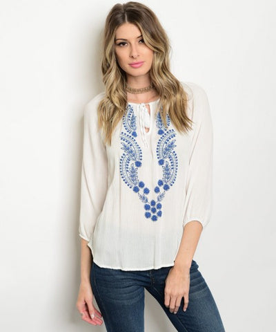 Women's White Long Sleeve Embroidered Top FashionIsUs.com