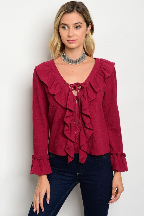 Women's Burgundy Lace Up Long Sleeve Shirts - FashionIsUs.com
