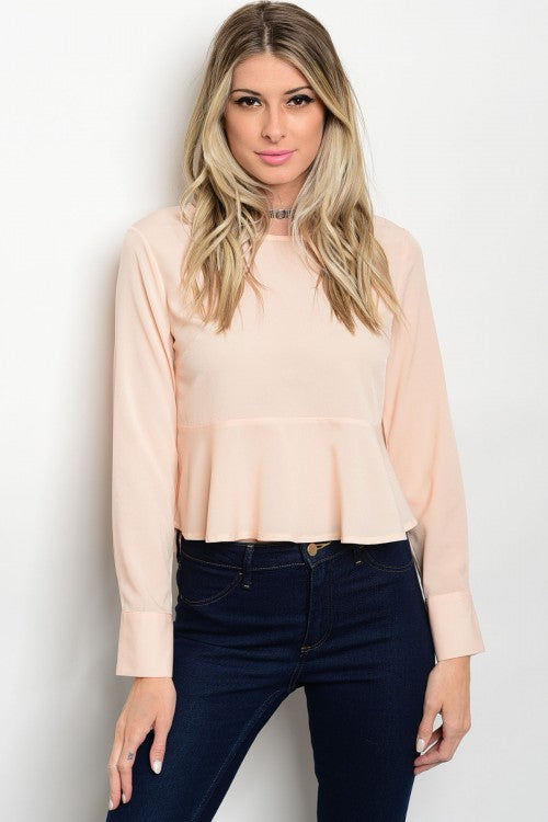Women's Long Sleeve Ruffle Pink Top - FashionIsUs.com
