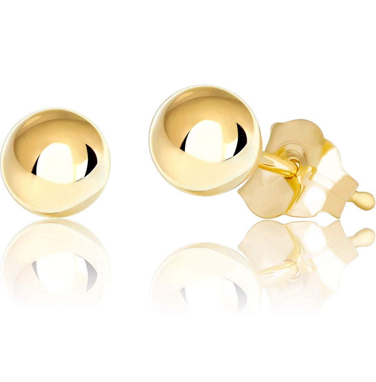 B0725YSGKL 14K Yellow Gold Ball Stud Earring