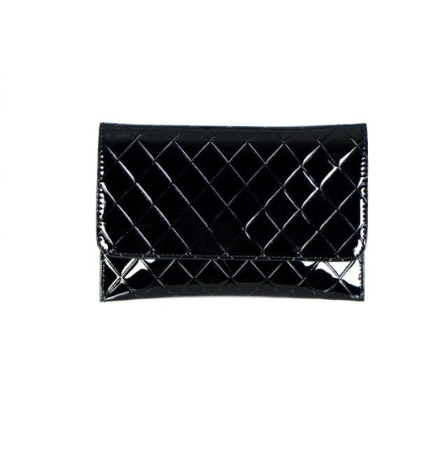 Black Diamond Stitch Clutch- FashionIsUs.Com
