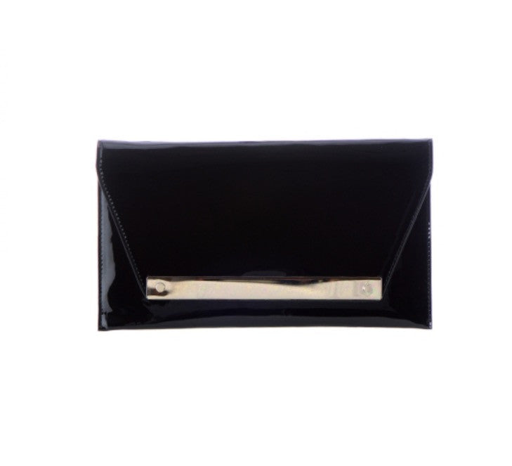 Women's Clutch Black Shiny Leather FashionIsUs.com