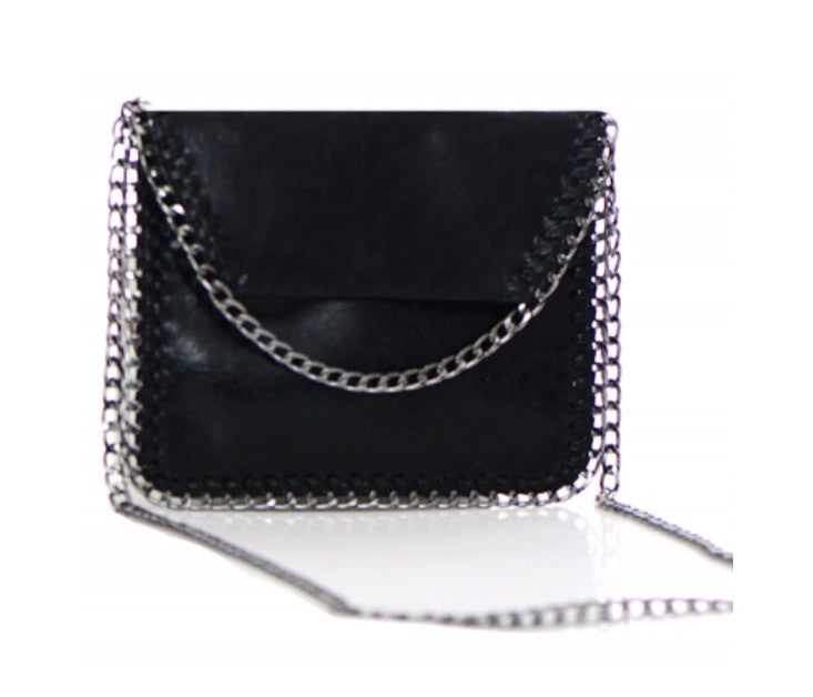 Women's Clutch Black Chained Foil Shine Purse FashionIsUs.com