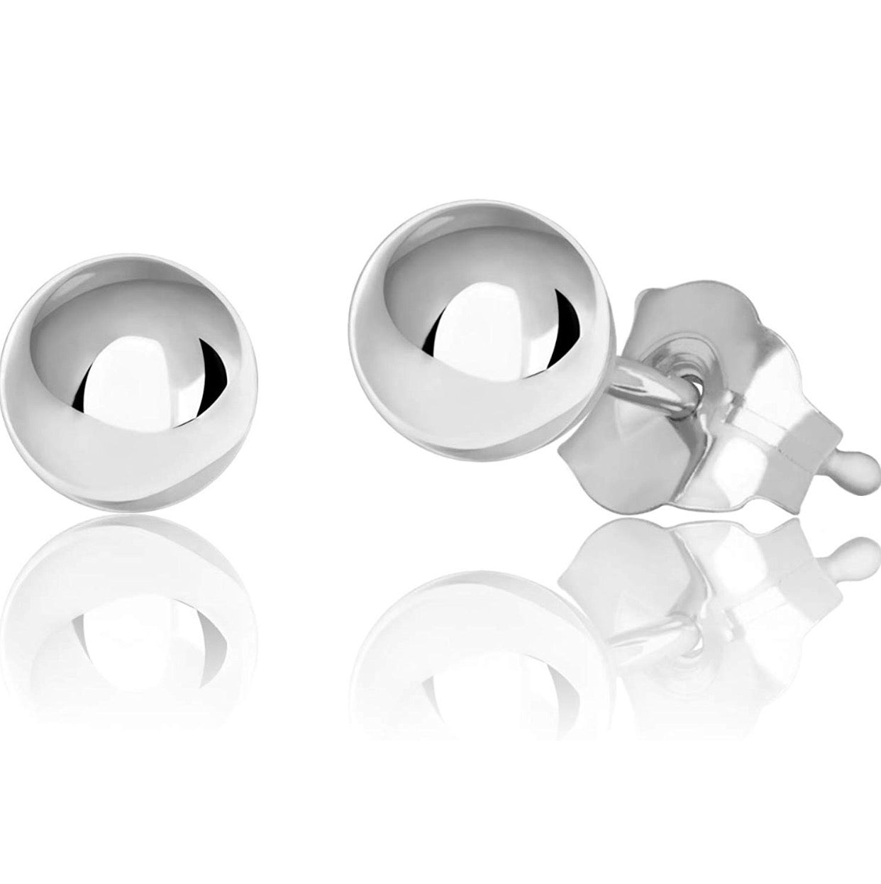14K White Gold Ball Earring Stud 4MM