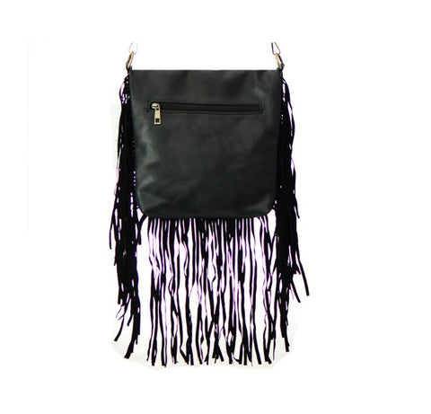 Women's Messenger Handbag Black Leather Fringe Detail FashionIsUs.com