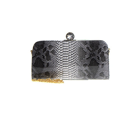 Women's Clutch Black Animal Print Diamond Top Lift-lock Closure FashionIsUs.com