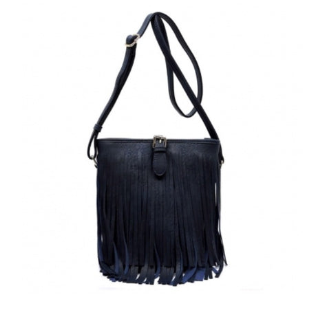 Women's Handbag Navy Leather Fringe FashionIsUs.com