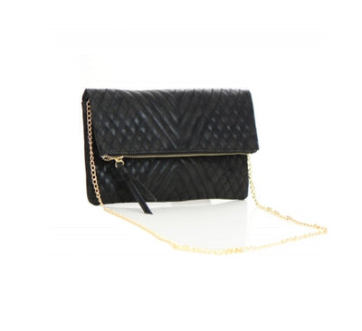 Women's Clutch Black Woven Flap Front FashionIsUs.com