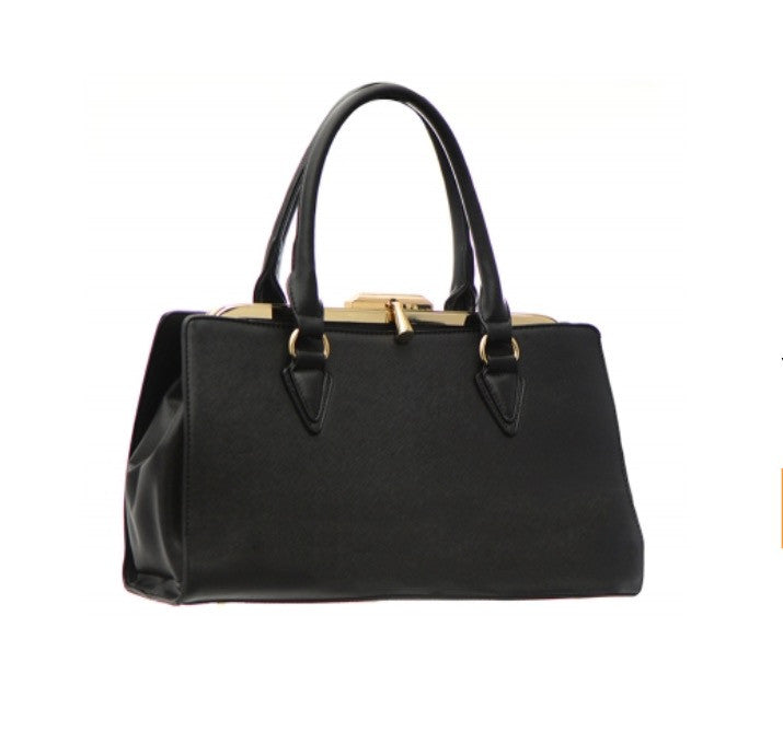 Women's Shoulder Handbag Leather With Gold Accents FashionIsUs.com