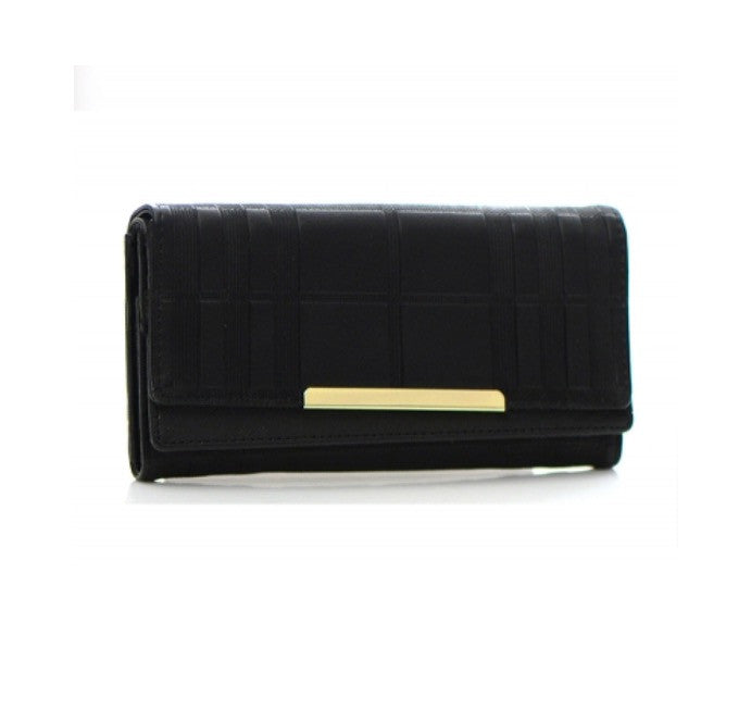 Women's Wallet Black Leather Gold-toned Metal Accent FashionIsUs.com