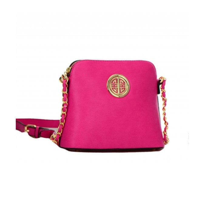 Women's Pink Messenger Bag With Gold Circle Accent FashionIsUs.com